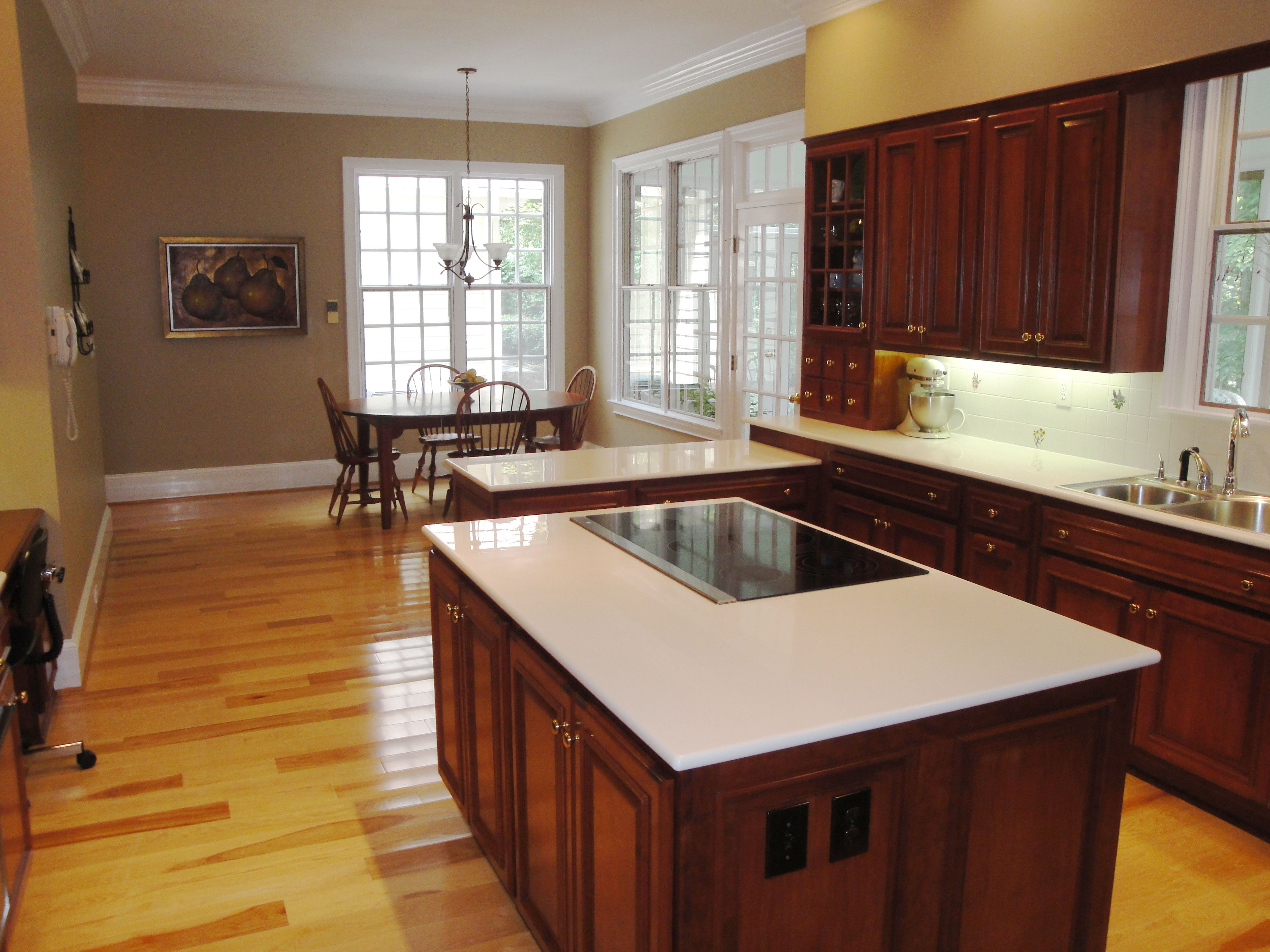 Hickory Floors, Cherry Cabinets Black Appliances And Light Floor (And