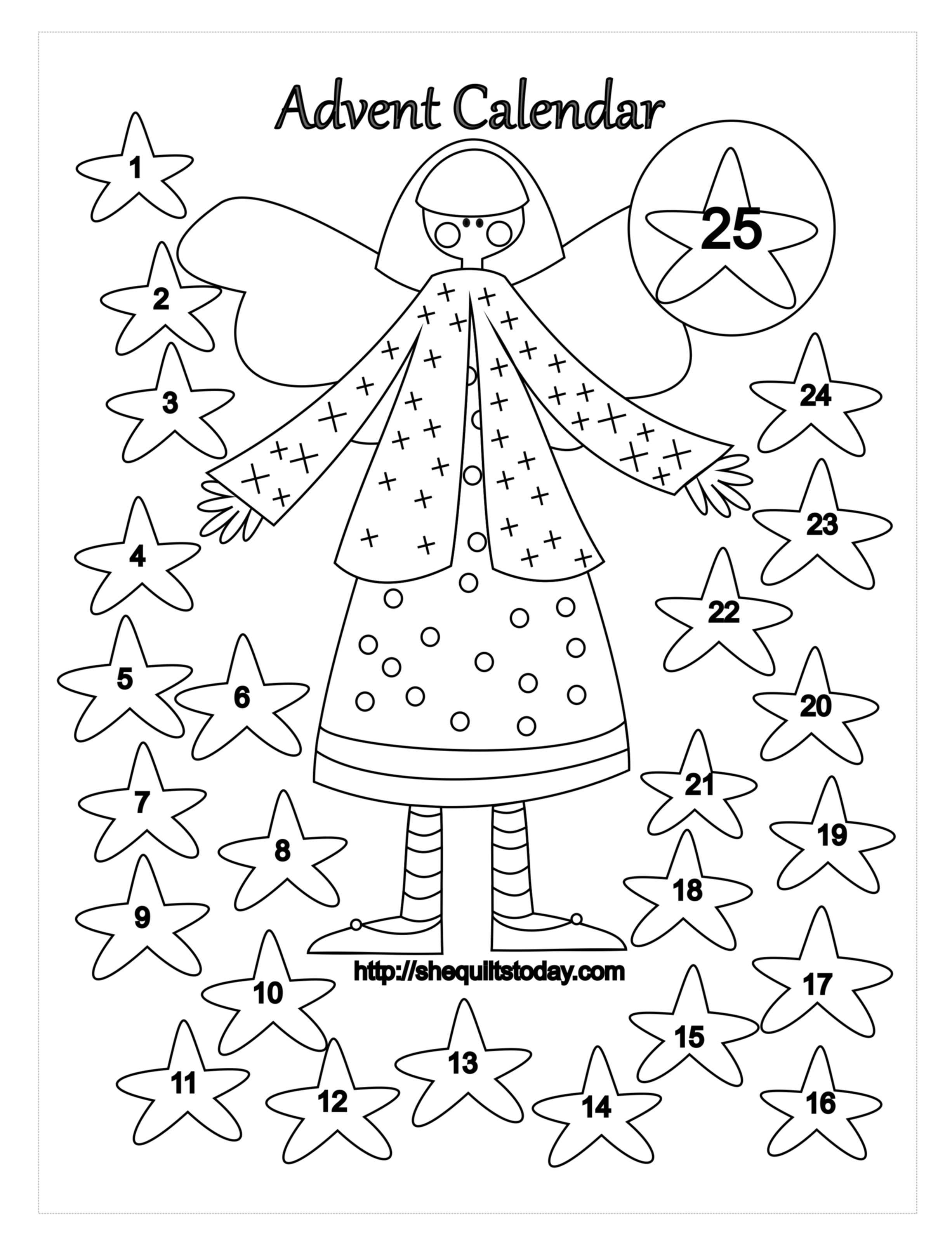 Free Advent Calendar Coloring Page Coloring Pages Quilts