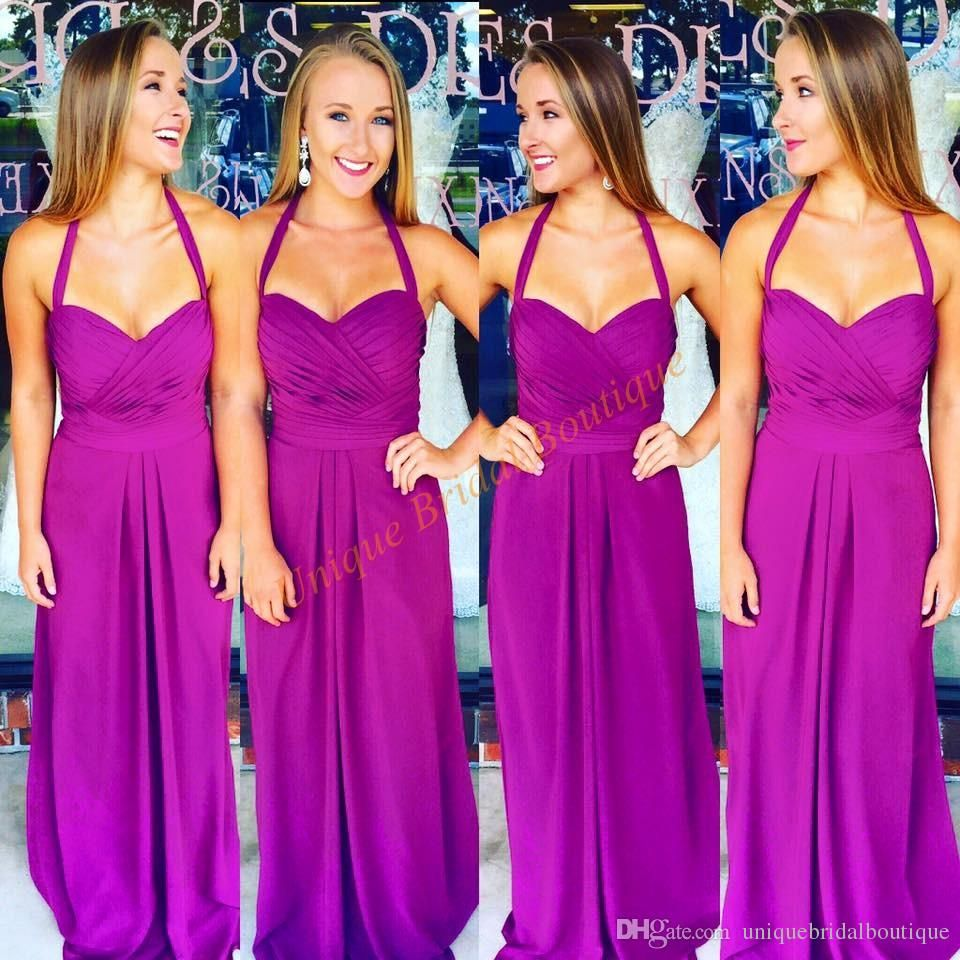 2016 Bridesmaid Dresses Long with Halter Neck and Full Length Real ...