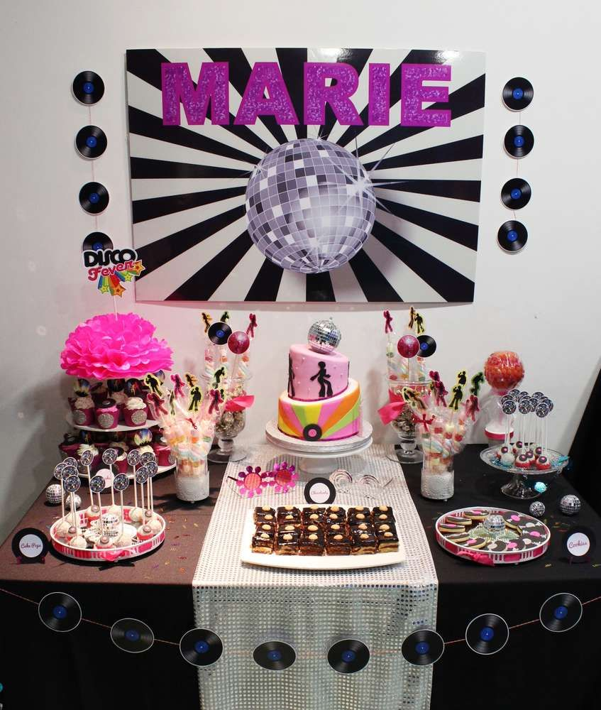 Disco birthday party dessert table! See more party planning