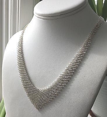 31eea0895 Tiffany & Co Silver Mesh Bib Elsa Peretti Scarf Necklace | Tiffany ...