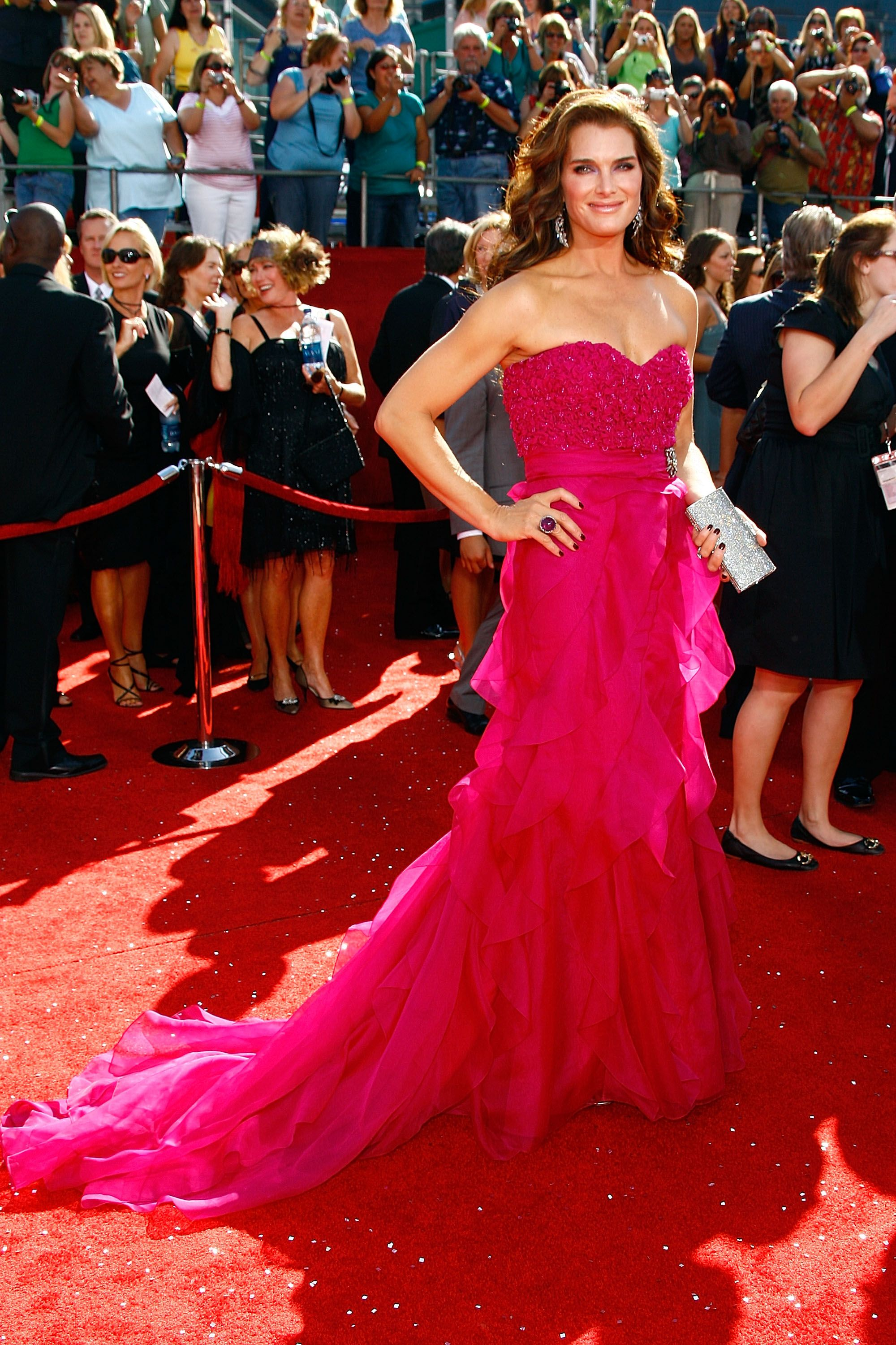 Red Carpet Style Icon Brooke Shields Red Carpet Fashion Strapless Dress Formal Badgley Mischka Gowns [ 3000 x 2000 Pixel ]
