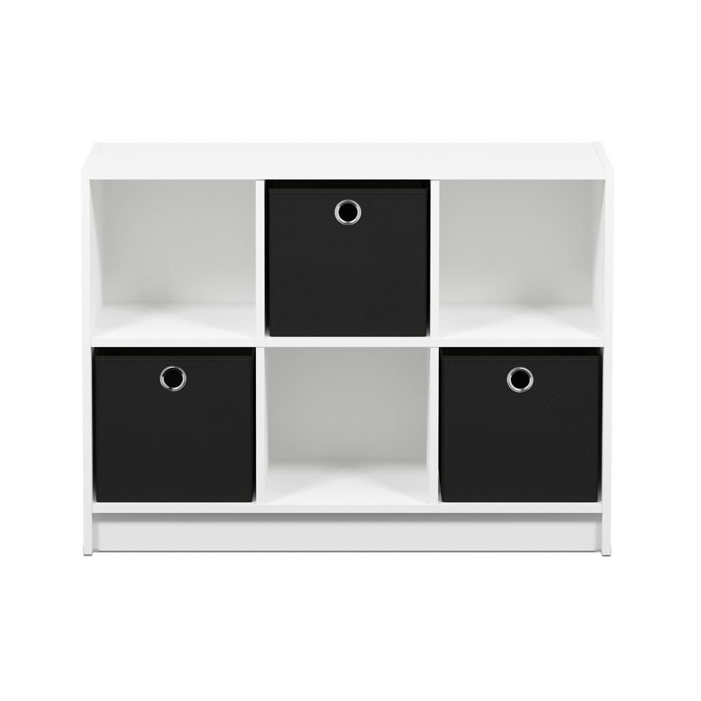 Furinno Basic White Black 6 Cube Bookcase With Storage Bins Cube