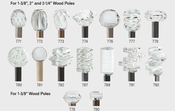Bohemia Crystal on Wood Available Finials
