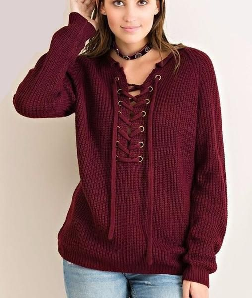 Long Sleeve Lace up Neckline
