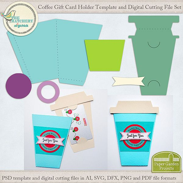 Coffee Cup Gift Card Holder Template and Digital Cutting File Set - gift card template