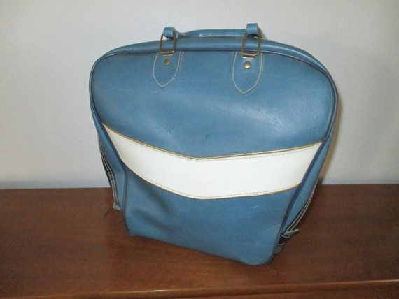 Vintage Blue and Cream Bowling Bag by RobeyPlaceVintage on Etsy