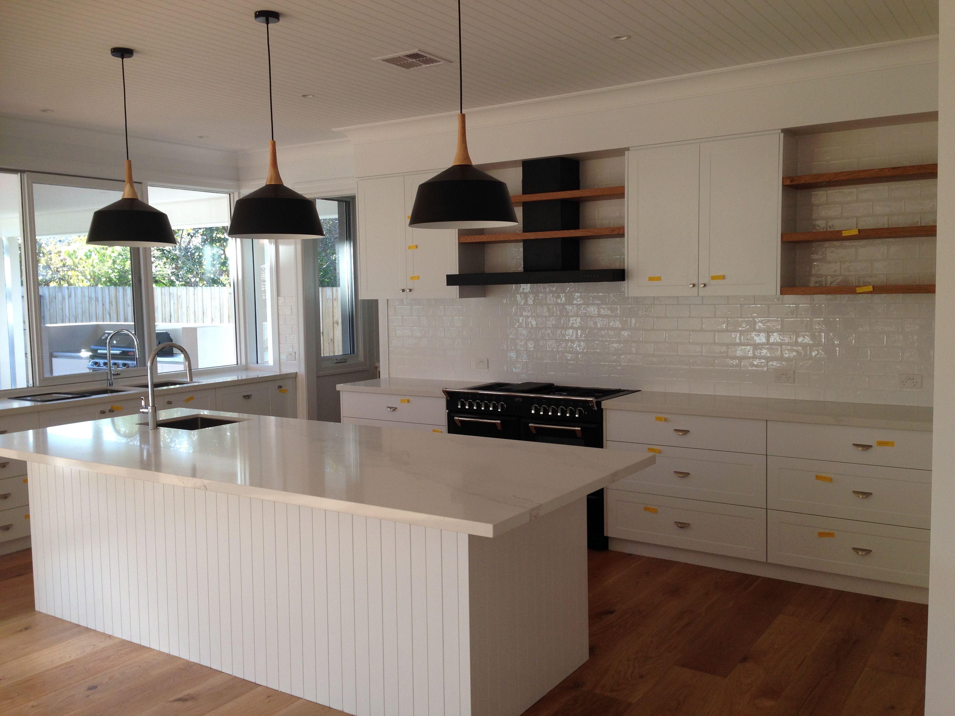 Kitchen Black Pendant Lighting Over Marble Calacutta Island Bench