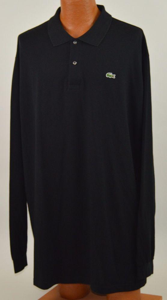 0da6fd50a2d8 Lacoste Mens 9L 3XLT 100% Cotton Black Long Sleeve Polo Shirt LN Used   Lacoste  PoloRugby