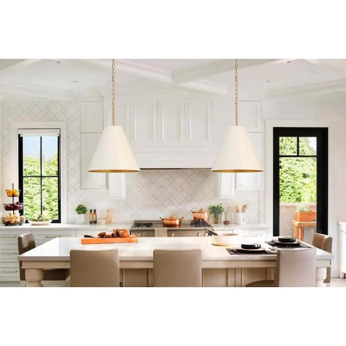 Allen Roth Soft Gold Transitional White Glass Bell Pendant Light Lowes Com Kitchen Inspiration Design White Kitchen Pendant Lights Pendant Light