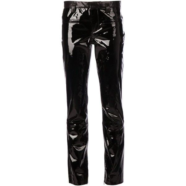 Haider Ackermann leather trousers ($1,170) ❤ liked on Polyvore featuring pants, trousers, black, genuine leather pants, black pants, black trousers, black leather trousers and leather pants