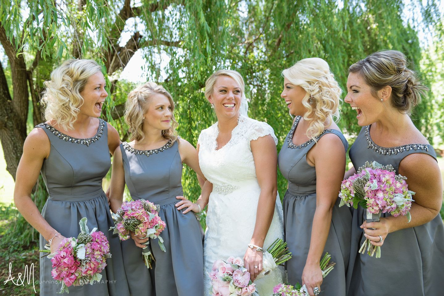 Am cunningham photography blush and neutral wedding grey am cunningham photography blush and neutral wedding grey bridesmaids dresses pink bouquet bridesmaids posing ombrellifo Gallery