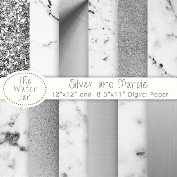 Marble Digital Paper and Silver Digital Paper by TheWaterJar