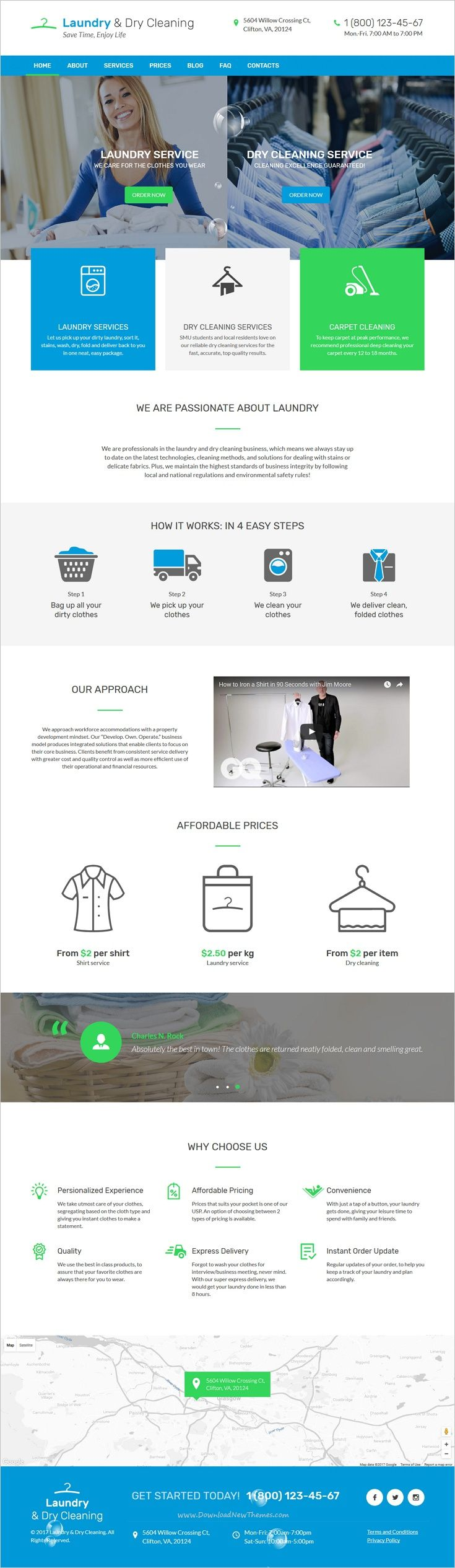 Responsive Bootstrap Theme For Laundry Services