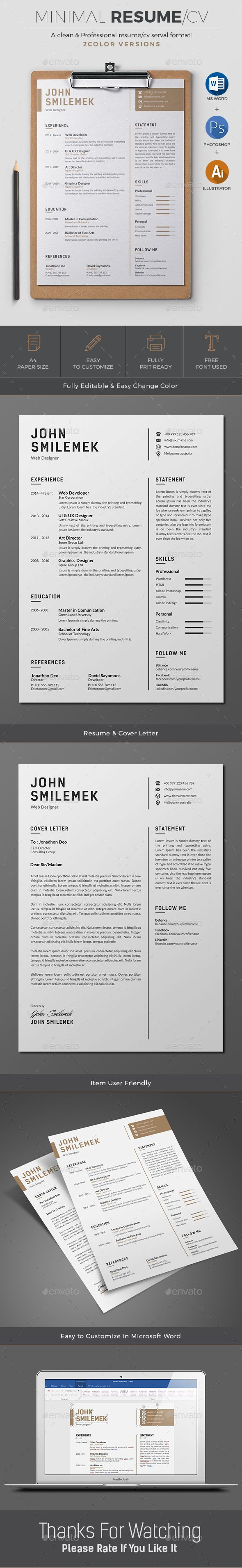 resume cover letter creative and creative resume buy resume by on graphicriver minimal amp simple resume cv template to help you land that great job the flexible page designs are easy to use an
