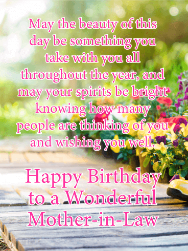 Thinking Of You Happy Birthday Card For Mother In Law Every