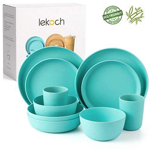 Lekoch 10 Piece Bamboo Tableware Set Eco Friendly Dinnerware For 2 Anti Bacterial Dinner Salad In 2020 Melamine Dinnerware Sets Bamboo Tableware Plastic Dinnerware