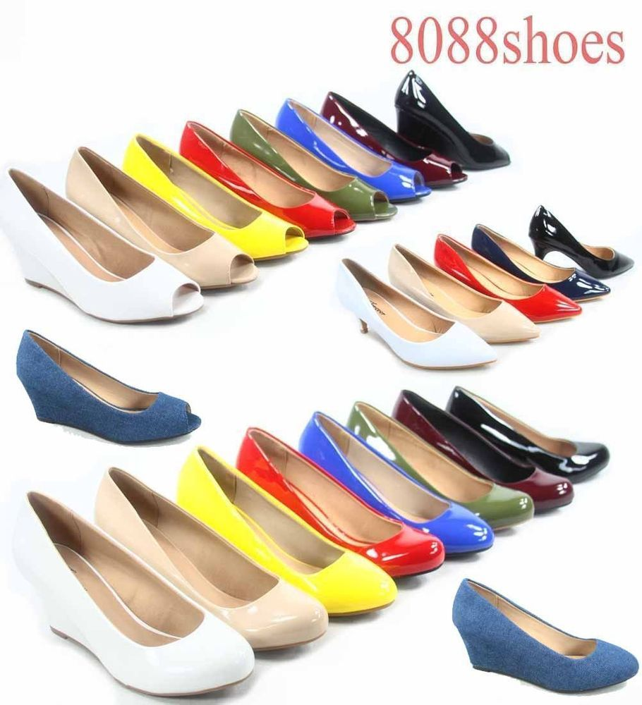 f6541fb62fdc Women s Patent Round Open Toe Low Wedge Platform Low Heel Shoes Size 5-10  NEW