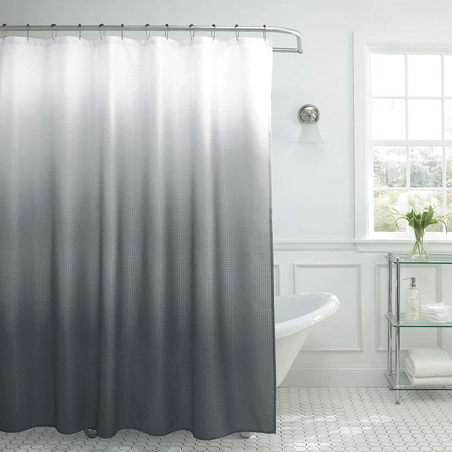Natural Home Ombre Textured Shower Curtain With Beaded Rings Dark