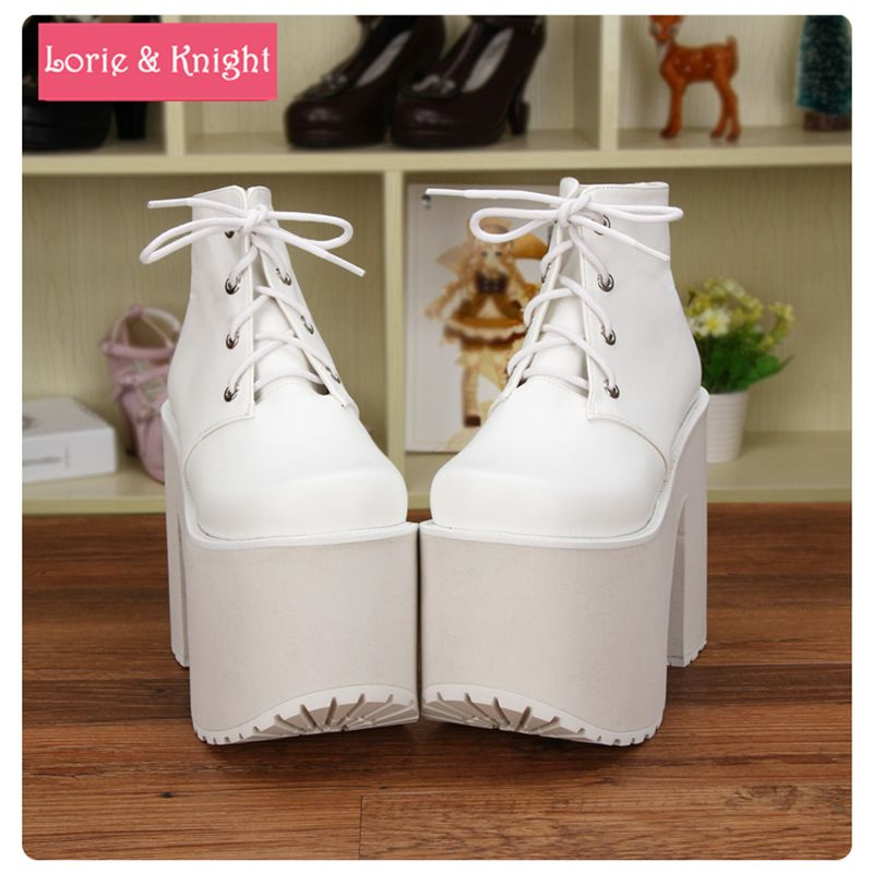714d8067207 Japanese Harajuku Punk Thick Heel Platform Shoes White Leather Lace-up  Queen Shoes