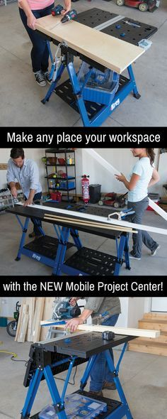 the mobile project center is a workbench sawhorse assembly table