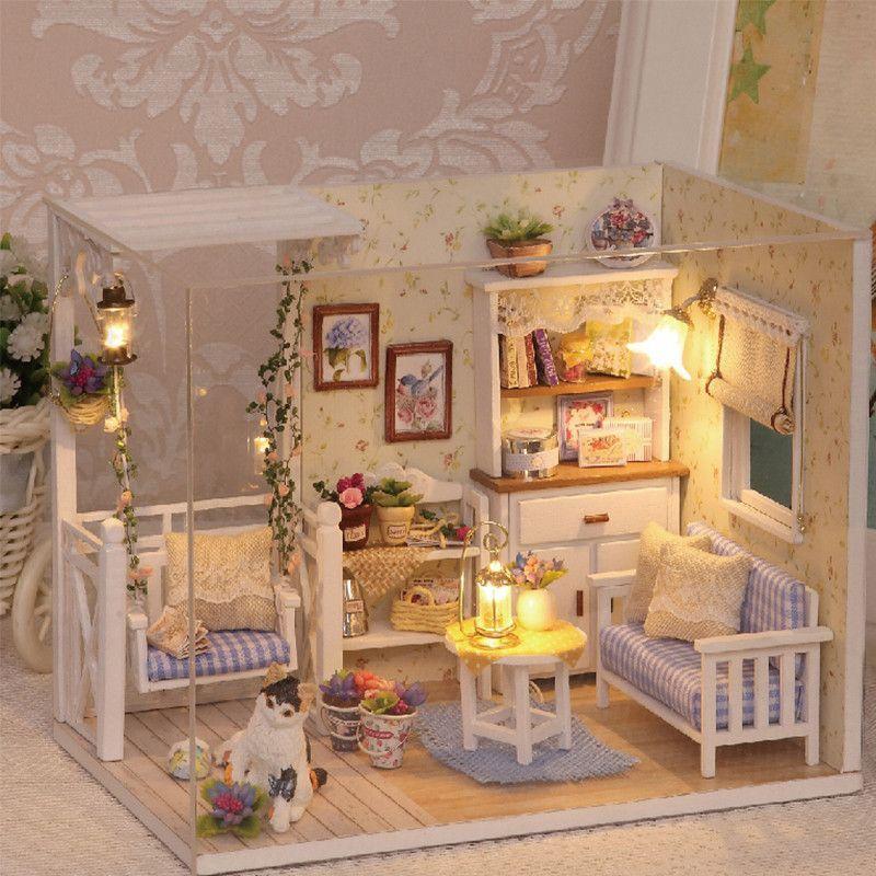 furniture kits. diy miniature wooden doll house furniture kits toys handmade craft model kit dollhouse gift v