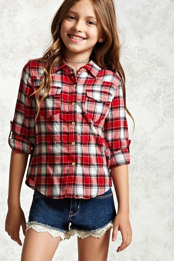 FOREVER 21+ Girls Plaid Shirt (Kids)  e7e59e44e8d