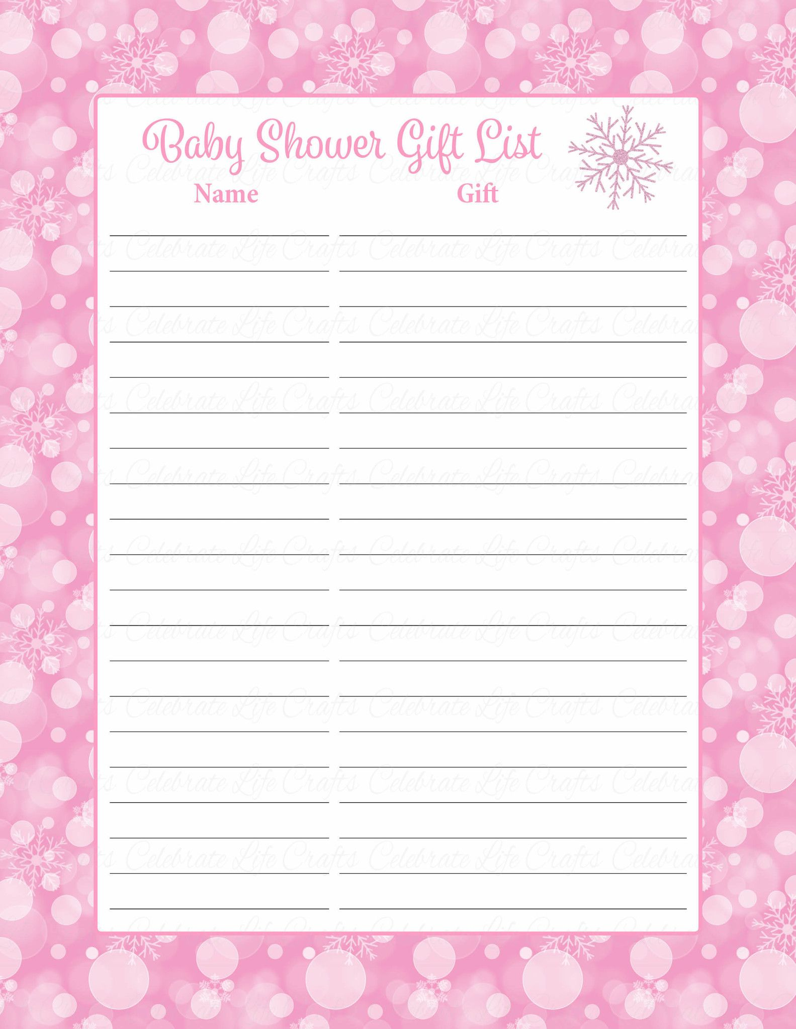photograph relating to Printable Baby Shower Gift List referred to as Kid Shower Present Listing Preset - Printable Obtain - Purple Bokeh