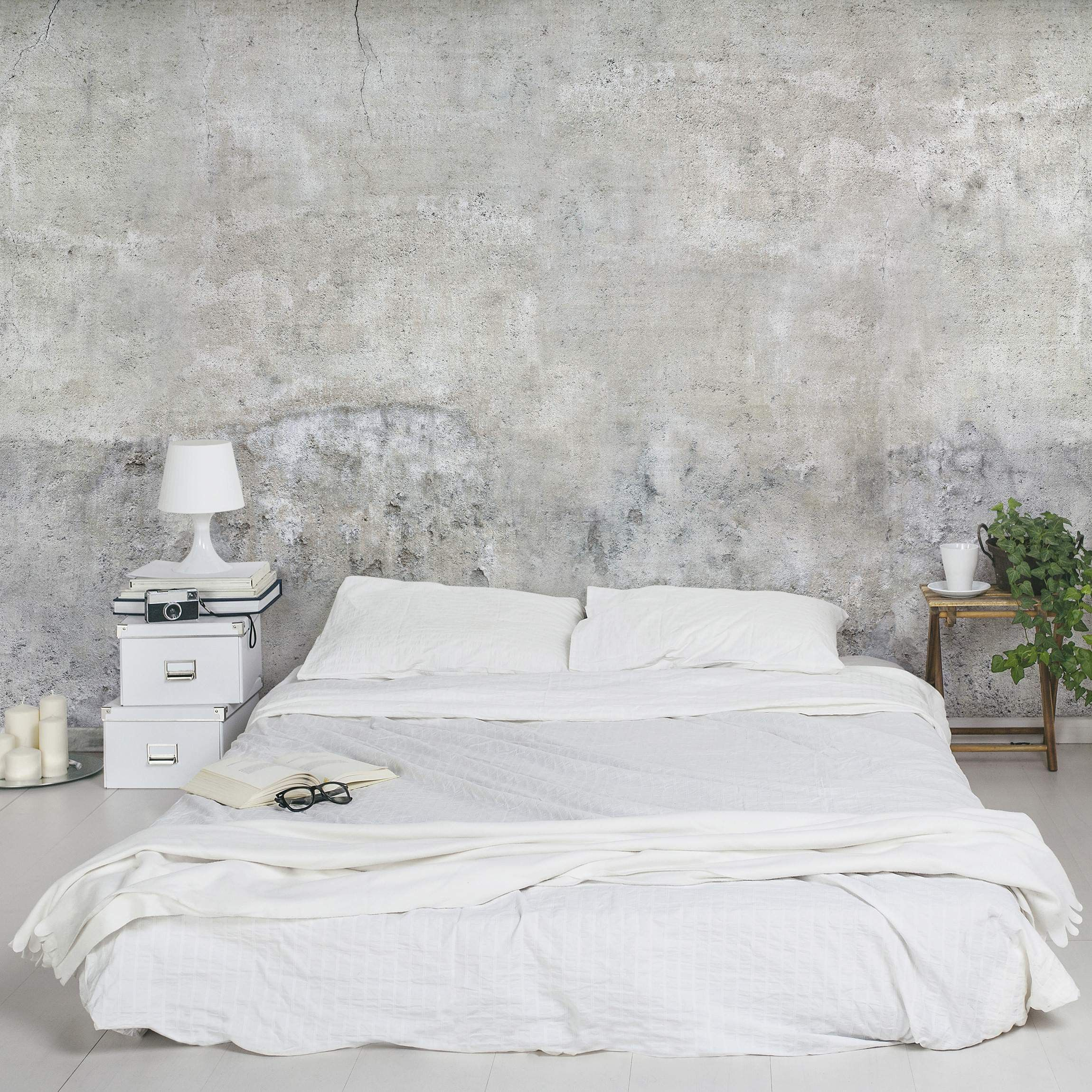 industrial style bedroom concrete wallpaper int. Black Bedroom Furniture Sets. Home Design Ideas