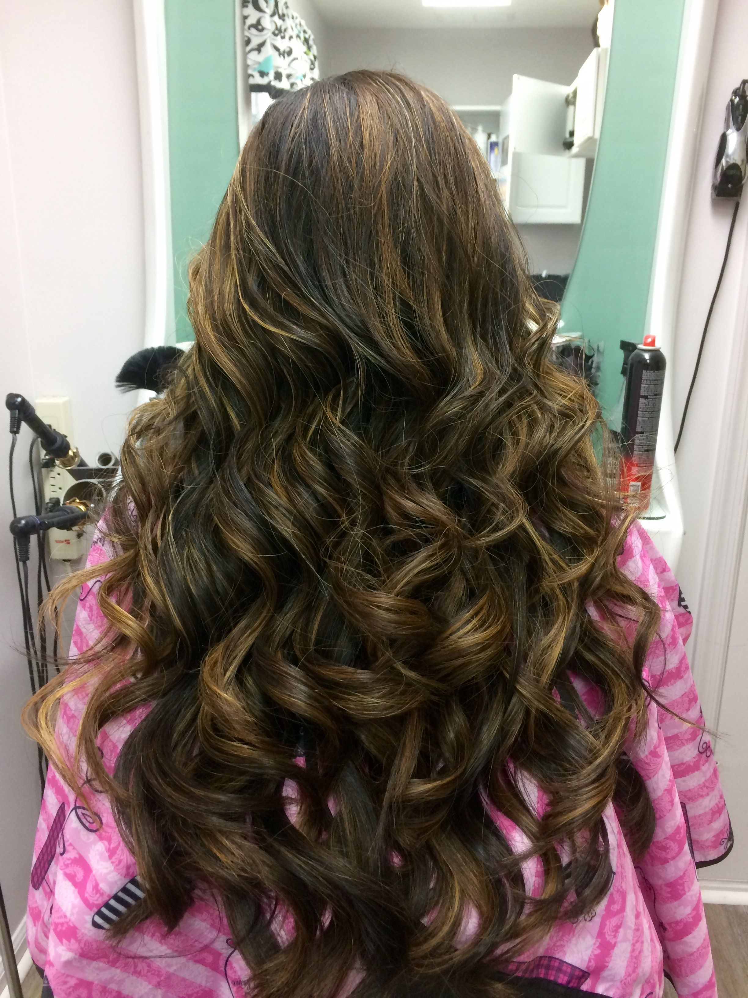 Hairstyle For Long Hair Curled With 1inch Curling Iron My Hair