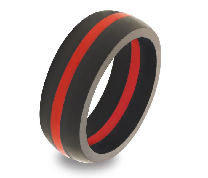 Mens Thin Red Line Ring Wedding Destination weddings and