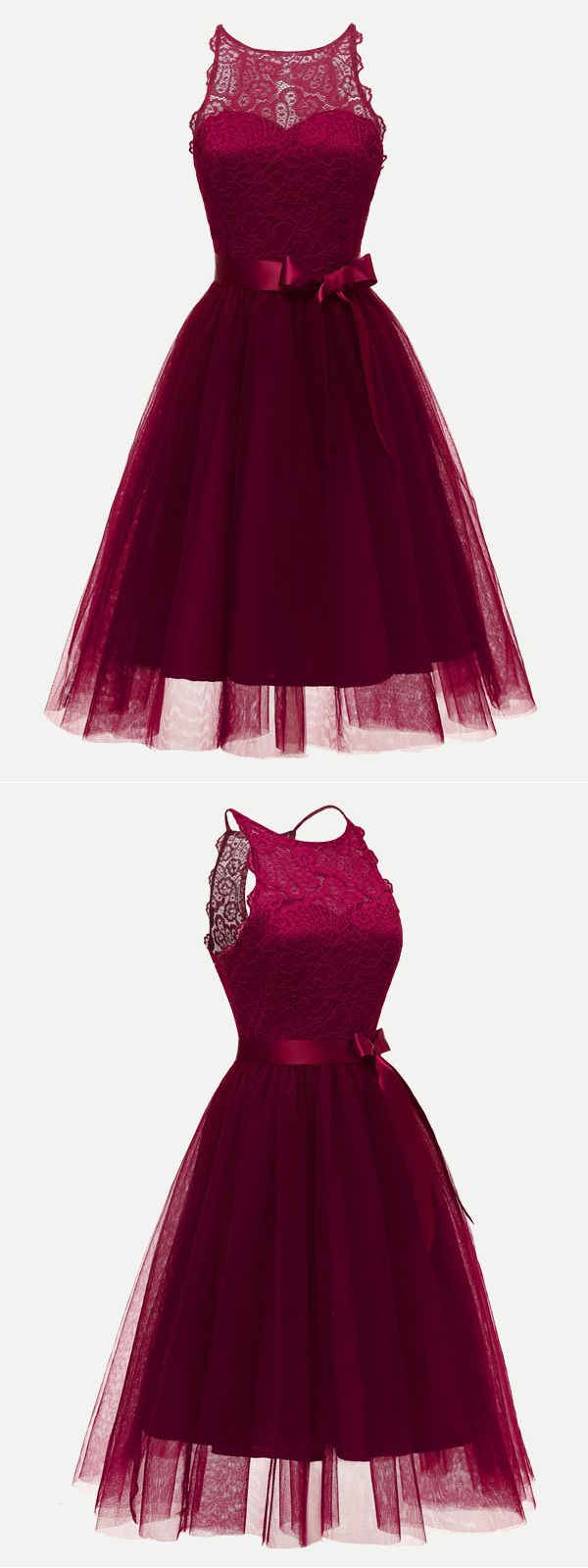 Vinfemass lace sleeveless bowknot fitted solid color evening dress