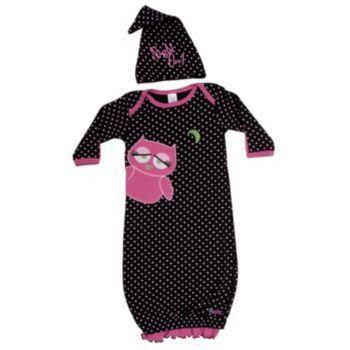 Sozo Baby-Girls Newborn Snug As A Bug Gown and Cap Set