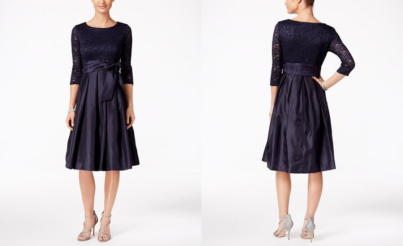 Jessica Howard Sequined Lace A Line Dress Dresses Women Macy S