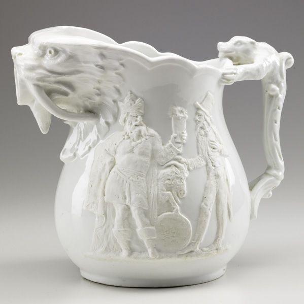 "Ok not a proper pattern, but I like animal spout & handle despite racist theme (KARL MUELLER  UNION PORCELAIN WORKS, Glazed porcelain jasperware pitcher,""Heathen Chinee,"" 1876-80)"