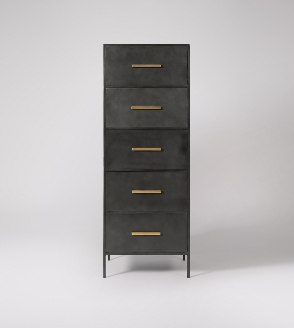 Stepney Industrial Style Five Drawer Tallboy In Gunmetal Chest Of Drawers Modern Chest Of Drawers Gunmetal [ 1118 x 1000 Pixel ]