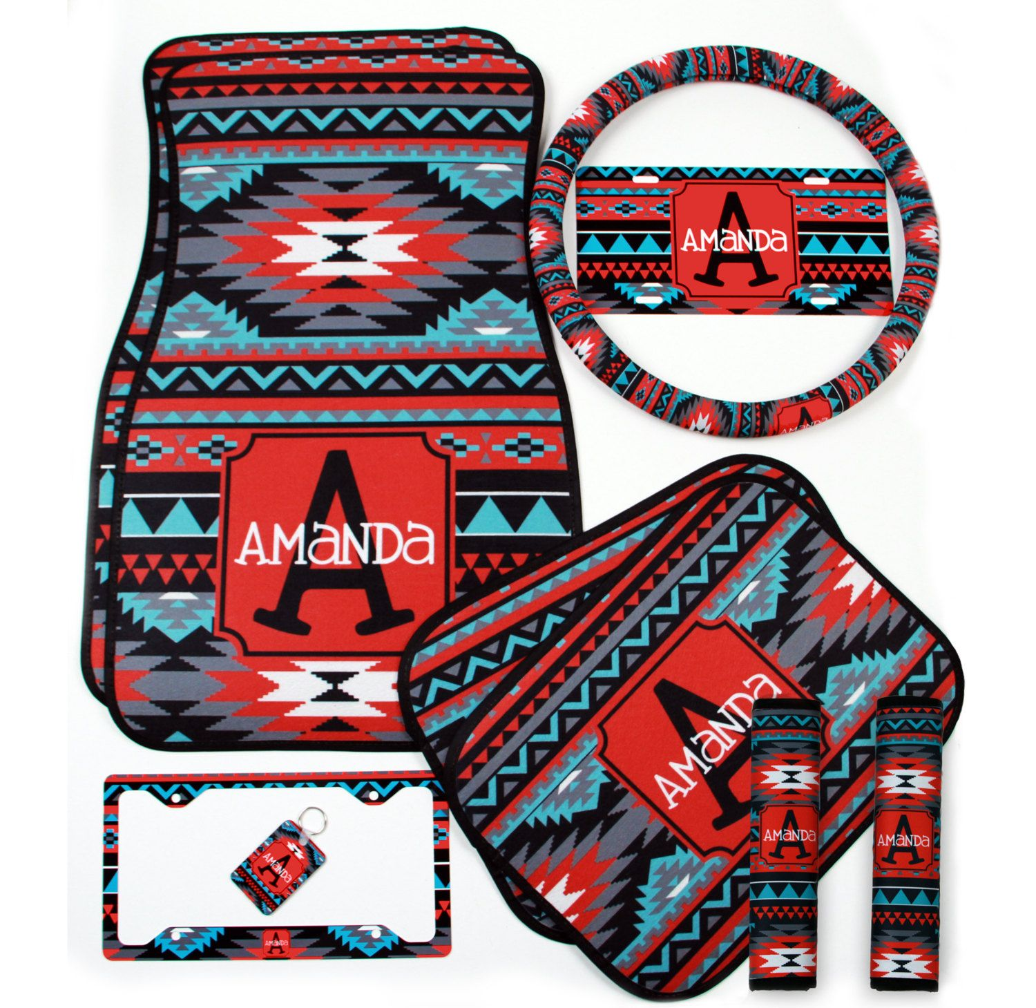 Custom Aztec Steering Wheel Cover Padded Insulated Tribal Car Accessories Seat Belt Covers License Plate Frames