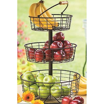 Details About 3 Tier Wire Hanging Basket Fruit Vegetable
