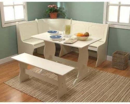 Breakfast Nook 3 Piece Corner Dining Set Antique White Wooden