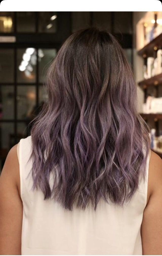 Smokey Violett Color Ombre Dip Dye With Natural Roots On Dark