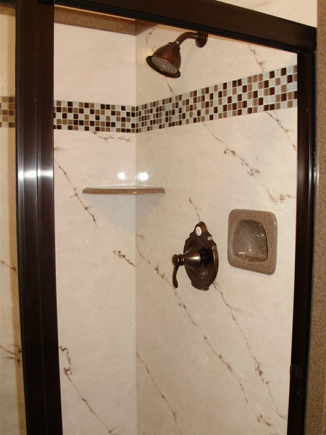 Cultured Marble Shower Wall With Decorative Tile Accent