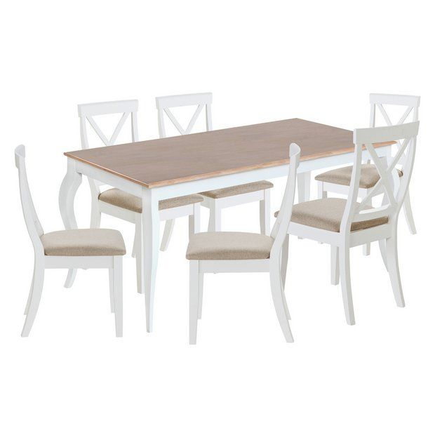 Home Southwold Oak Veneer Table & 6 Chairs - Two Tone ...