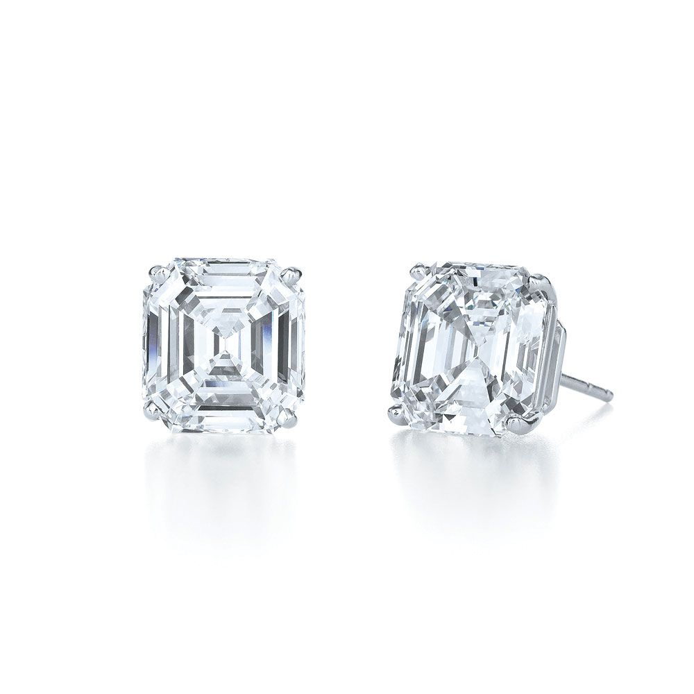 Asscher Cut Diamond Stud Earrings In 4prong Platinum Setting  Love This  Exact Inconspicuous