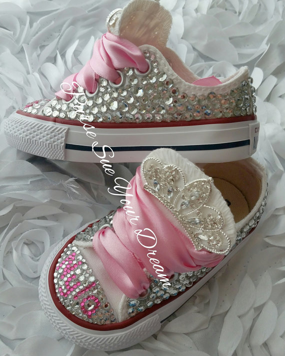 8155e4c94f04 Swarovski Crystal Design Princess Converse Shoes - Bling Shoes ...