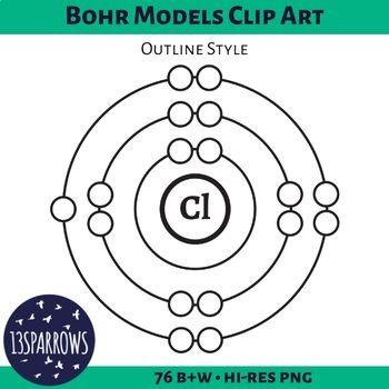 Bohr Models Clip Art, Outline Style Clip art, Outlines and - new periodic table of elements top 20