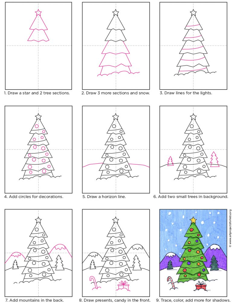 How To Draw A Christmas Tree Art Projects For Kids Christmas Tree Art Christmas Art Kids Art Projects