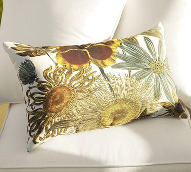 Sunflower Botanical Indoor Outdoor Lumbar Pillow Potterybarn Outdoor Patio Diy Patio Cushions Outdoor Diy Pottery