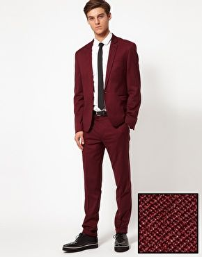 Skinny Fit Suit in Burgundy | Men's Fashion | Pinterest | Prom ...