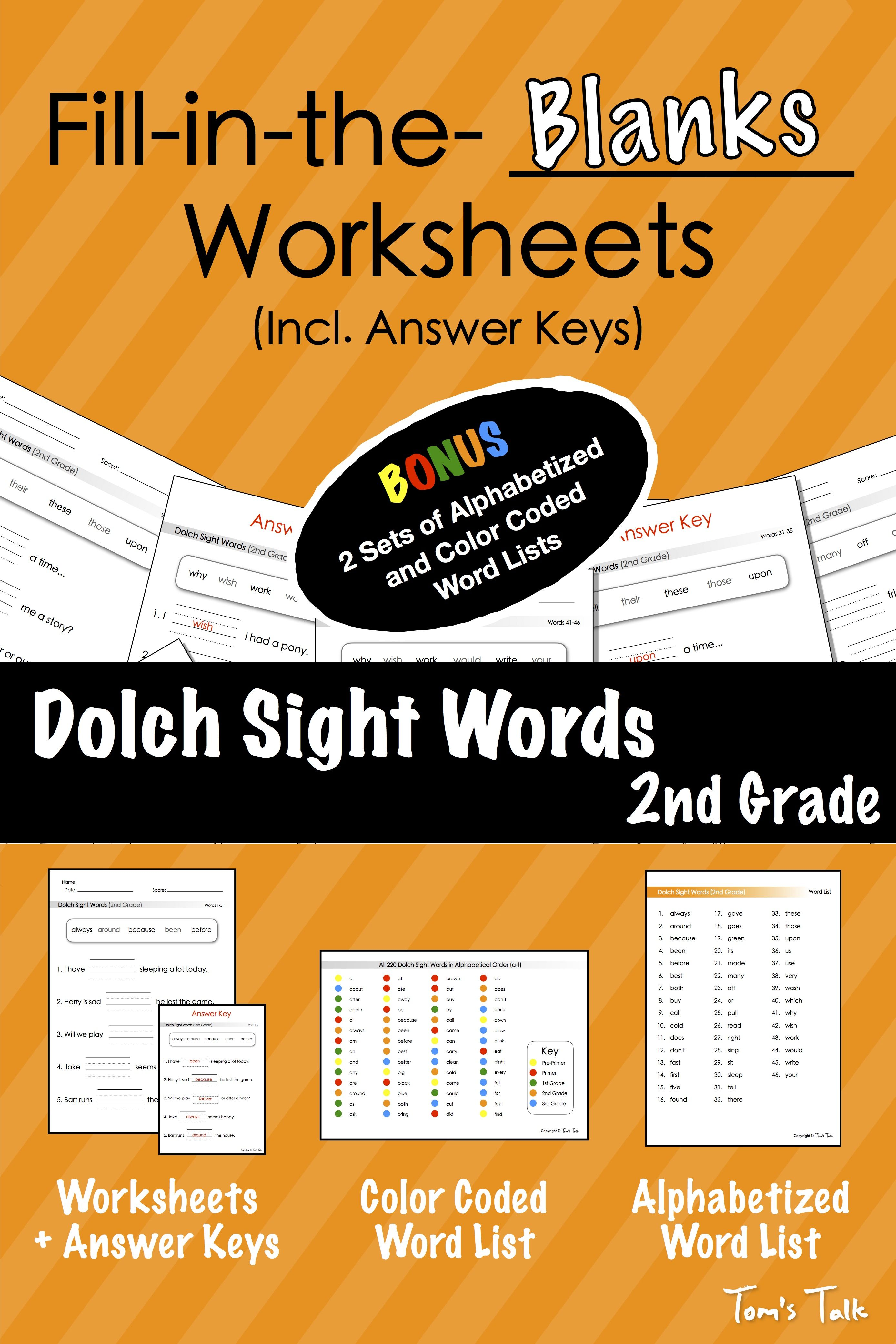 Dolch Sight Words 2nd Grade Fill In The Blanks