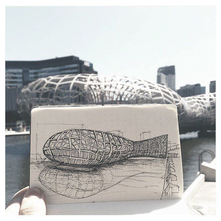 { webb bridge - melbourne } // awesome urban sketch by @najmie_rx  #iArchitectures #architecture #archilovers #arquitectura #architettura #architectural #architects #architecturestudent #architecturemodel #architectureschool #sketch #rendering #handrender #doodle #drawing #art #modelmaking #maquette #maqueta